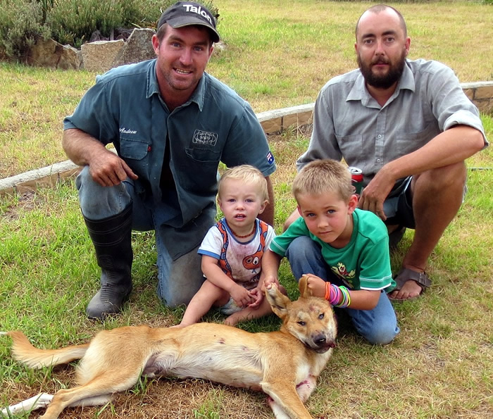 Dylan, Luke and his kids with another wild dog taken.